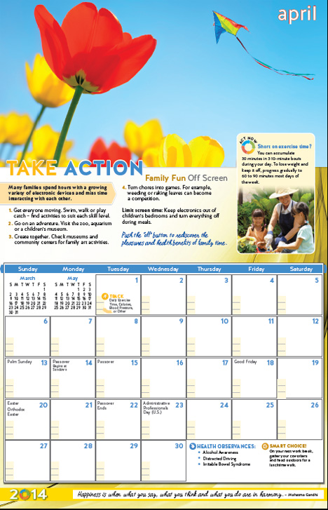 Health and Wellness Calendars - 2014 Year of Good Health Calendar